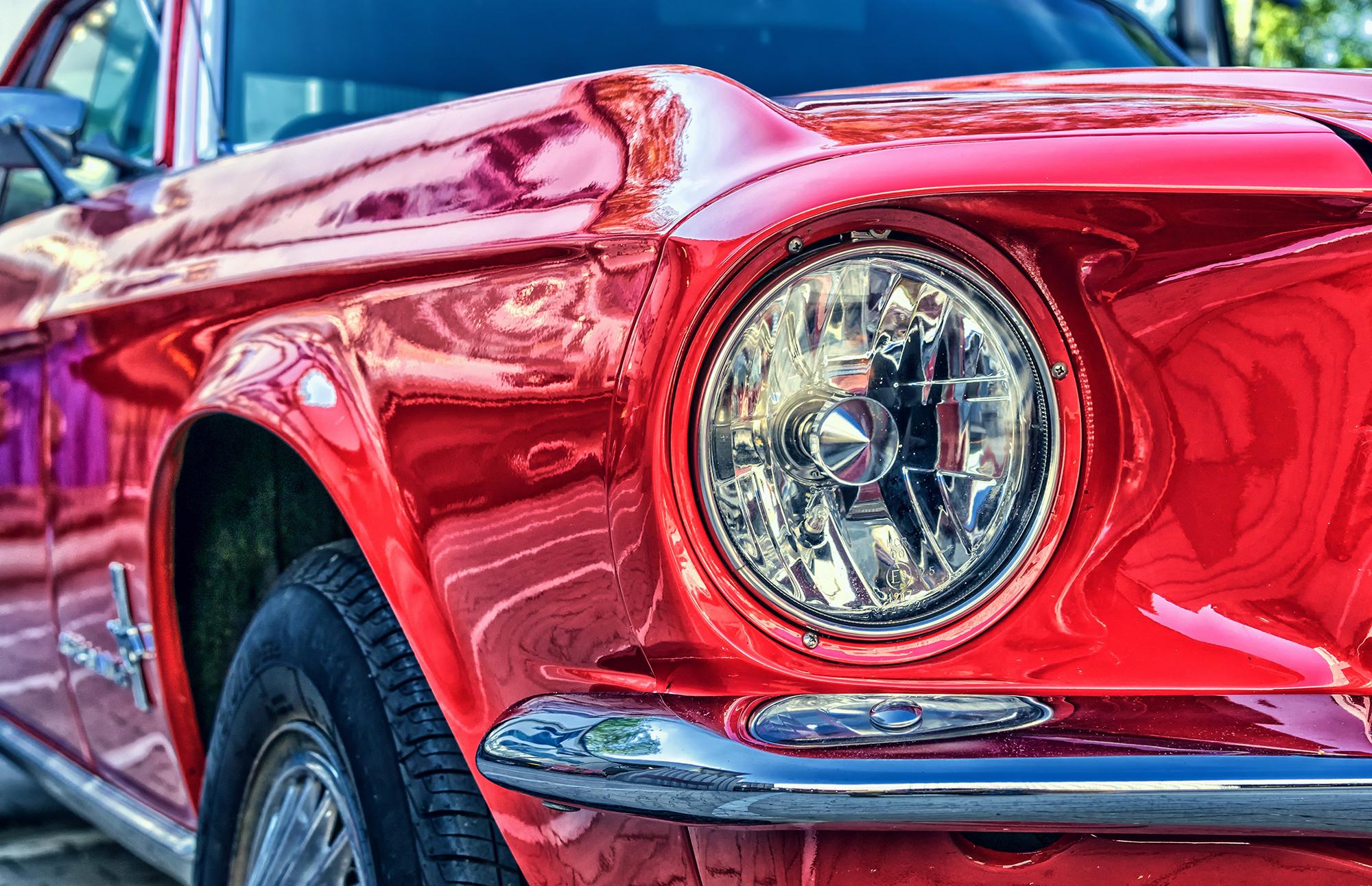 Red car at headlight